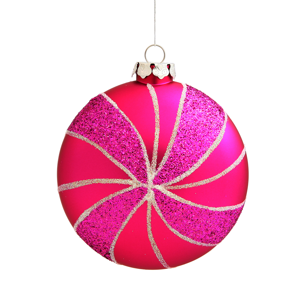 3.75 Inch Cerise Pink Matte Peppermint Candy Round Christmas Ornament