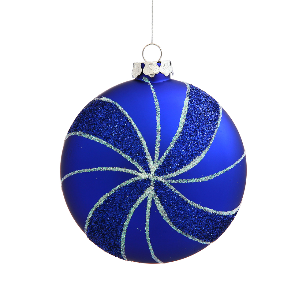 3.75 Inch Blue Matte Peppermint Candy Round Christmas Ornament