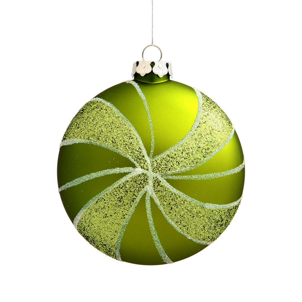 3.75 Inch Lime Green Matte Peppermint Candy Round Christmas Ornament