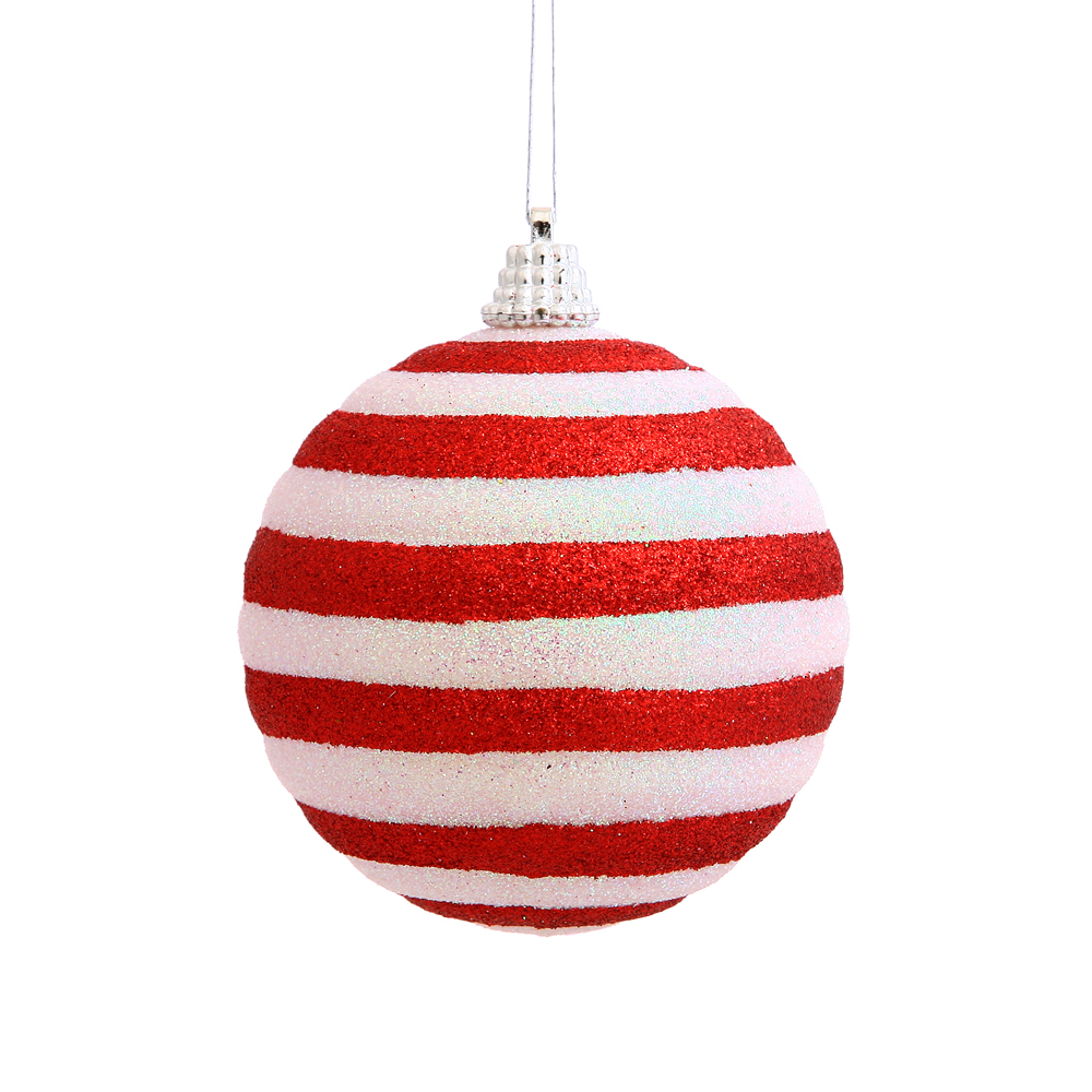 3 Inch Candy Cane Stripe Round Christmas Ball Ornament