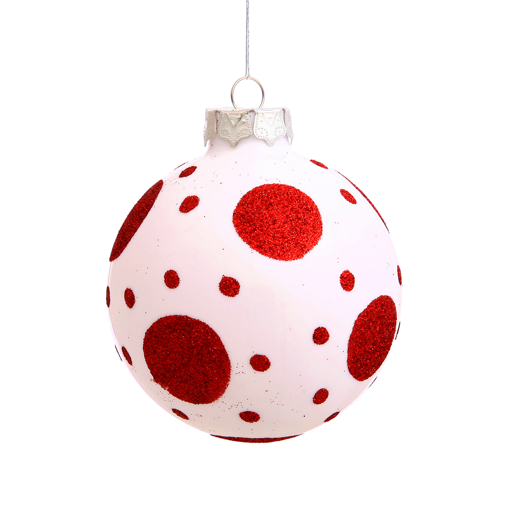 3 Inch White Polka Dot Round Christmas Ball Ornament
