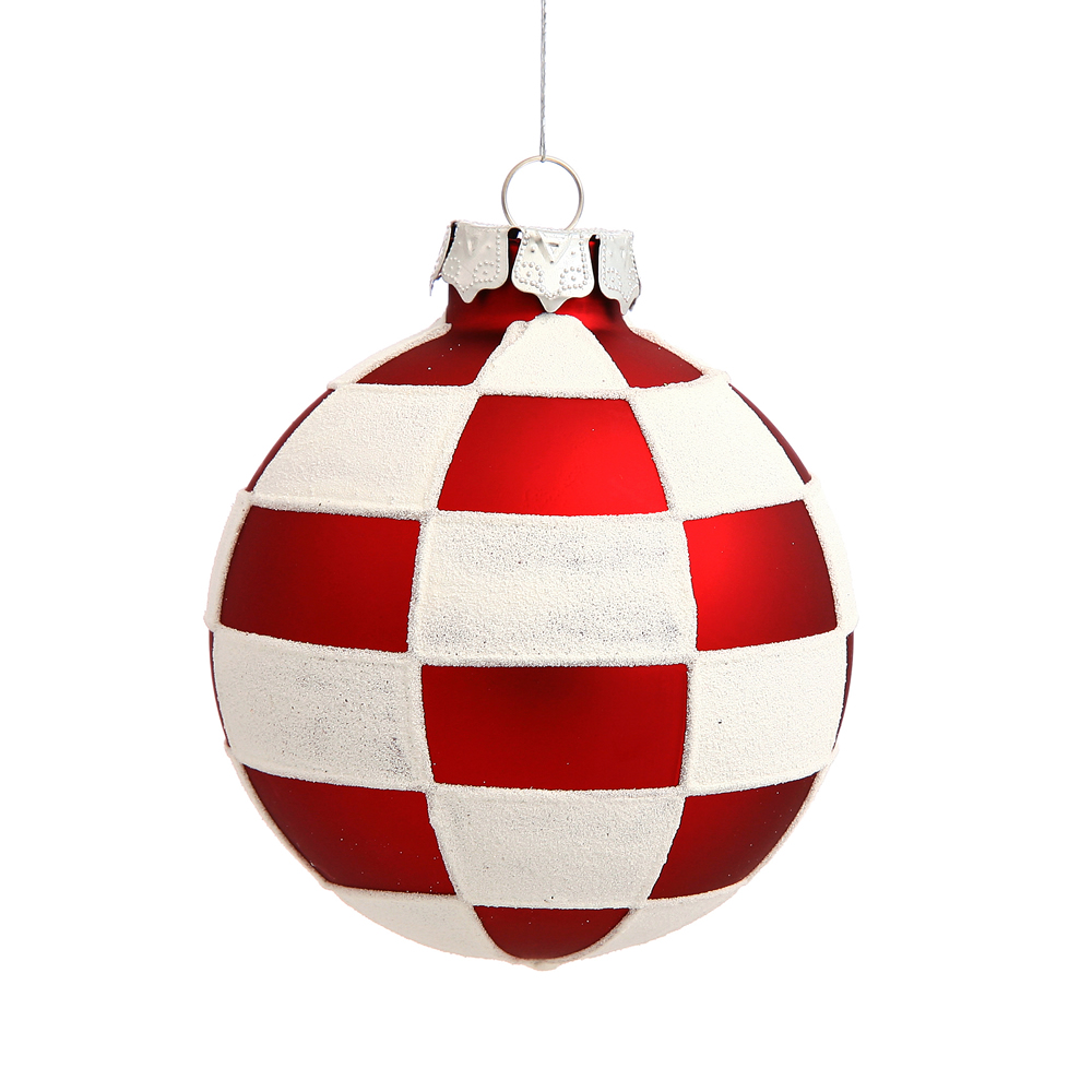 3 Inch Red Checkered Round Christmas Ball Ornament