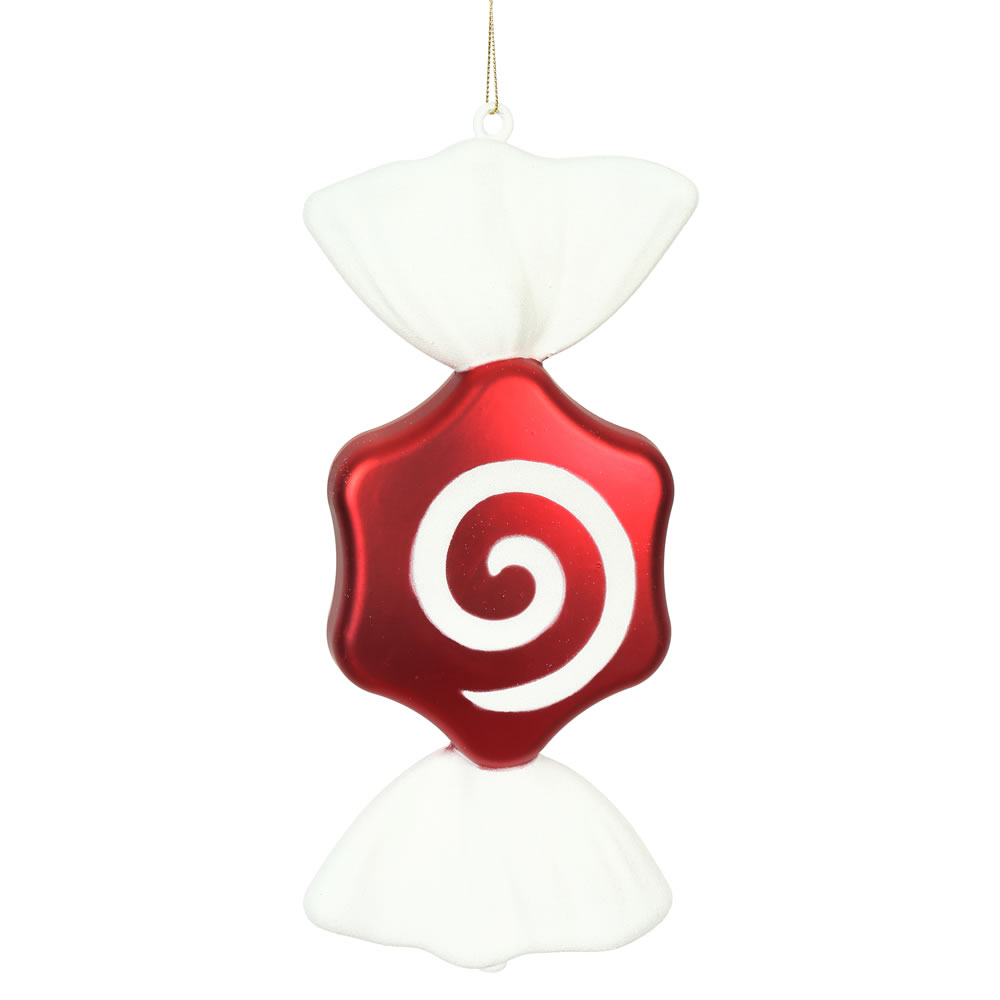 12 Inch Red White Peppermint Candy Swirl Hexagon Christmas Ornament Set of 2