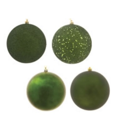 1 Inch Moss Green Ornament Assorted Finishes Box of 18