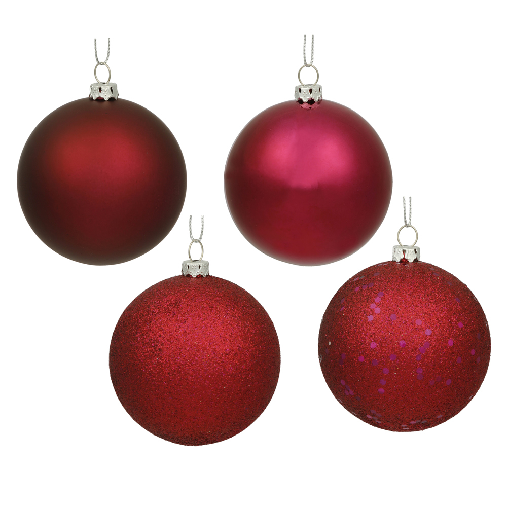 4.75 Inch Wine Assorted Finishes Round Christmas Ball Ornament 4 per Set