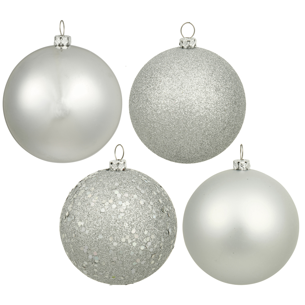 6 Inch Silver Assorted Finishes Round Christmas Ball Ornament Set of 4