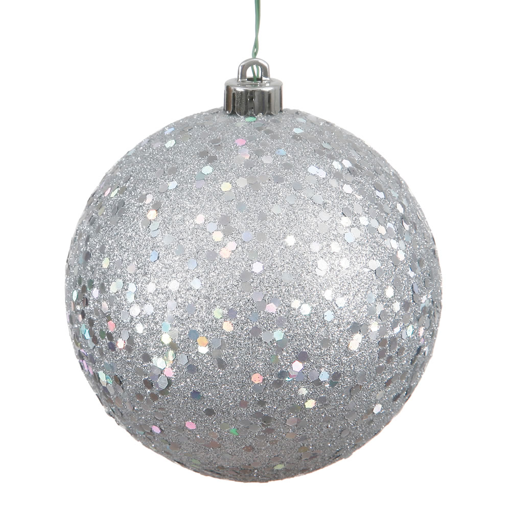 6 Inch Silver Sequin Round Shatterproof UV Christmas Ball Ornament 4 per Set