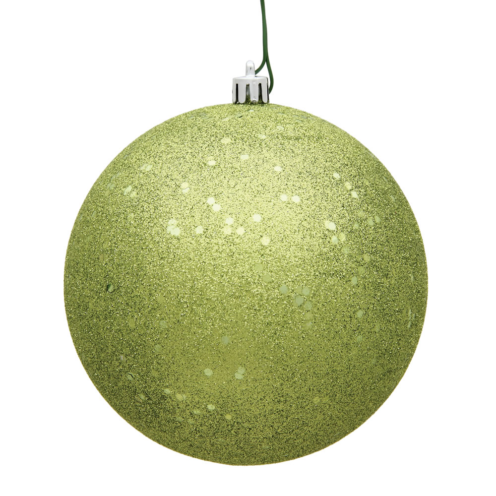 12 Inch Lime Green Sequin Round Christmas Ball Ornament Shatterproof UV
