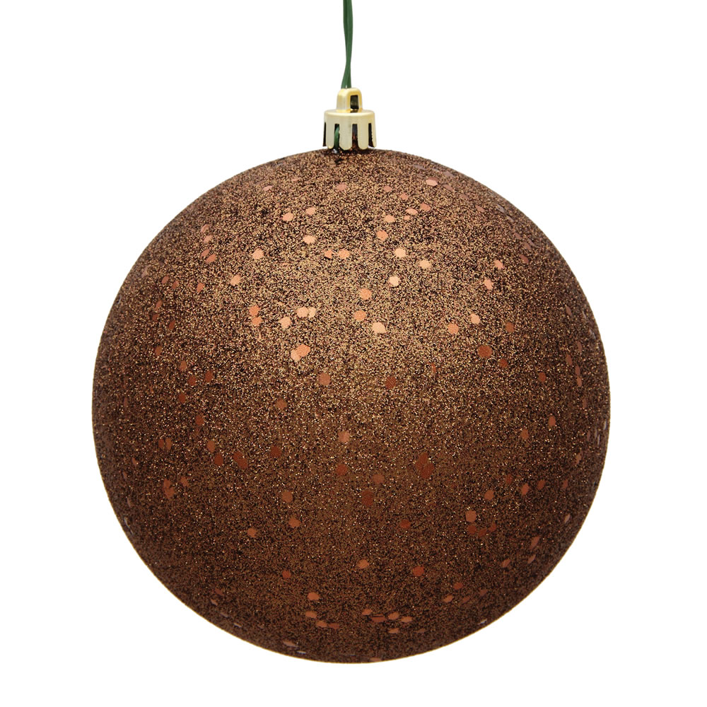 12 Inch Mocha Sequin Round Christmas Ball Ornament Shatterproof UV
