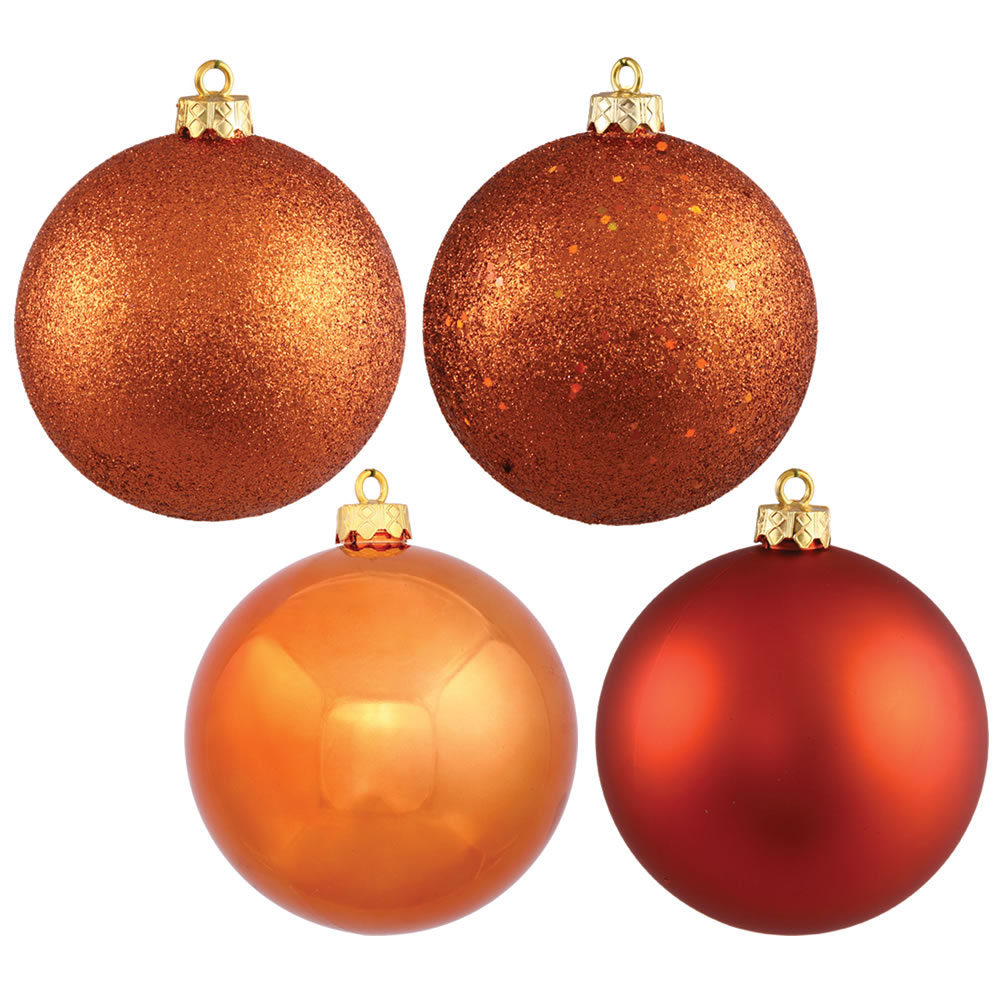12 Inch Burnish Orange Round Christmas Ball Ornament Shatterproof Set of 4 Assorted Finishes