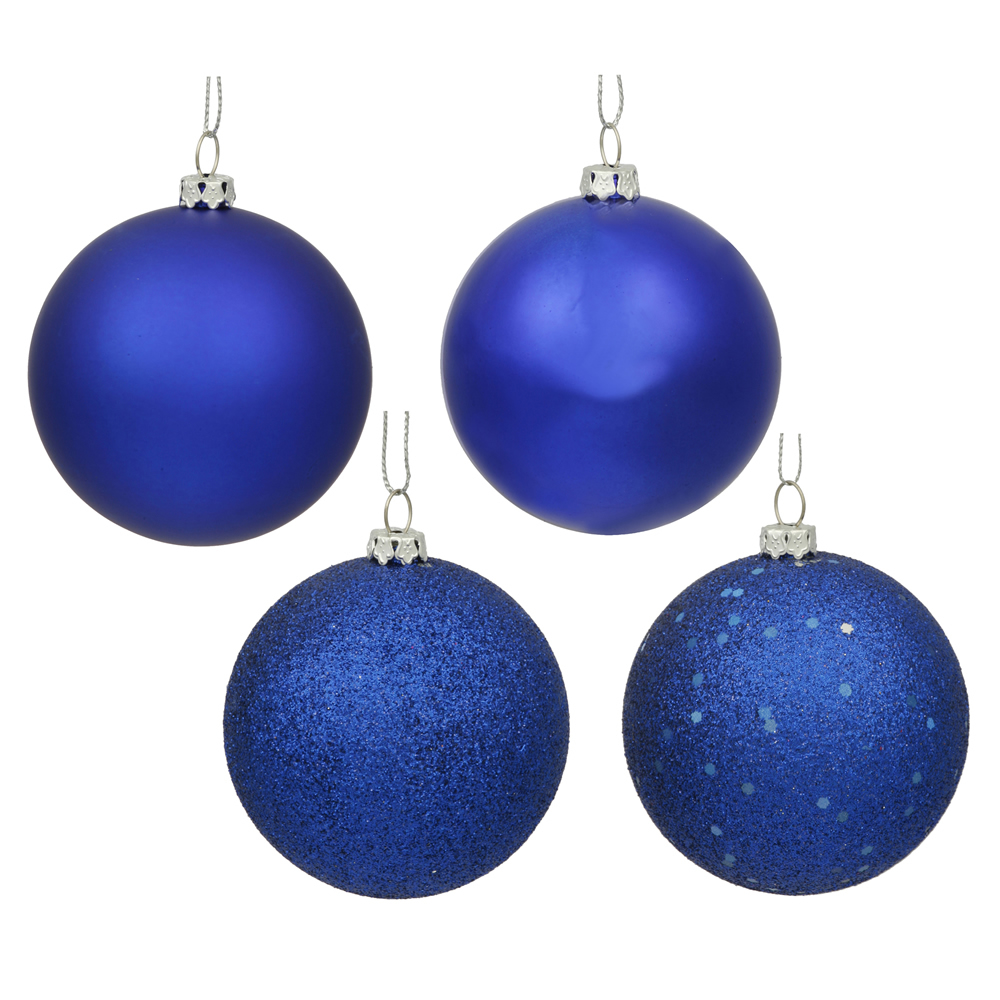12 Inch Cobalt Blue Round Christmas Ball Ornament Shatterproof Set of 4 Assorted Finishes