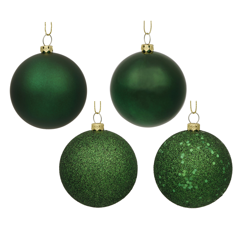 12 Inch Emerald Round Christmas Ball Ornament Shatterproof Set of 4 Assorted Finishes