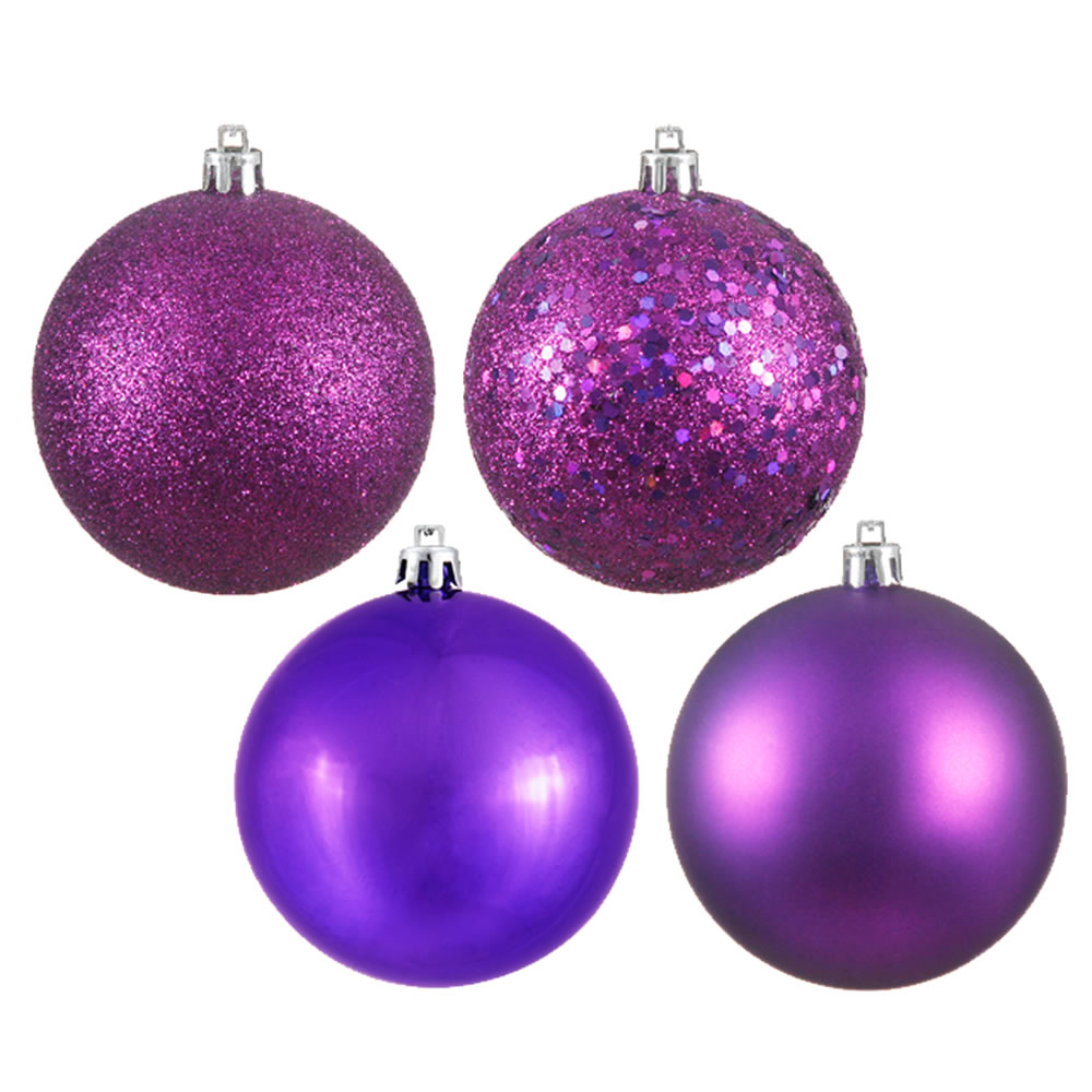 12 Inch Plum Round Christmas Ball Ornament Shatterproof Set of 4 Assorted Finishes