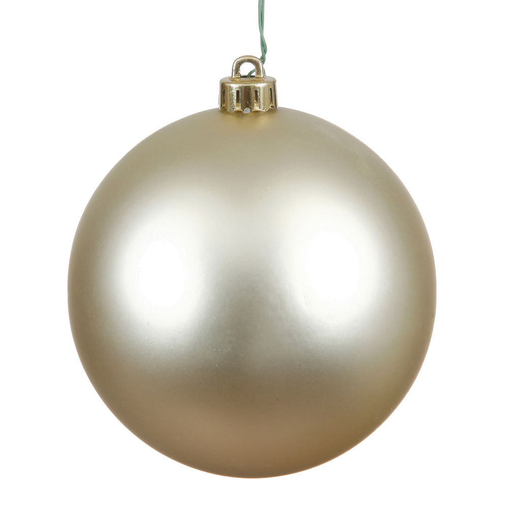 12 Inch Champagne Matte Round Christmas Ball Ornament Shatterproof UV
