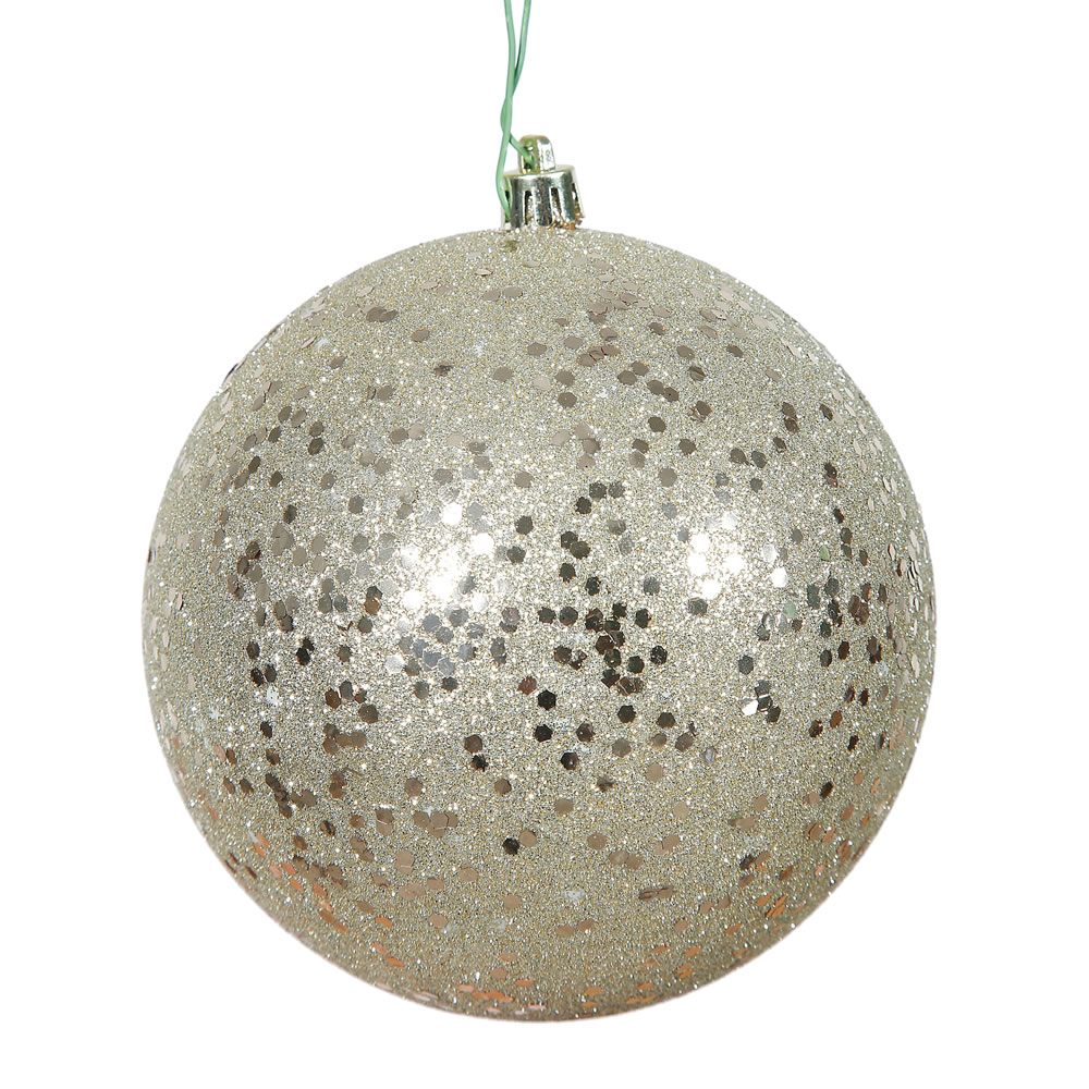 12 Inch Champagne Sequin Round Christmas Ball Ornament Shatterproof UV
