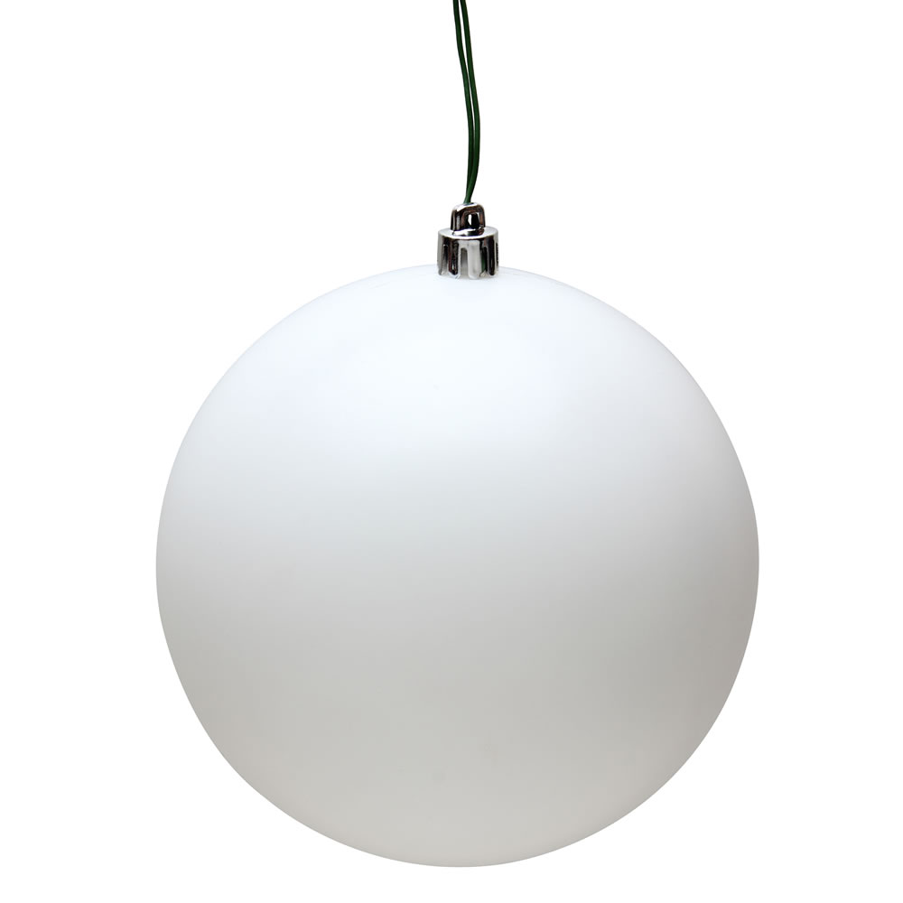 15.75 Inch White Matte Round Christmas Ball Ornament Shatterproof UV