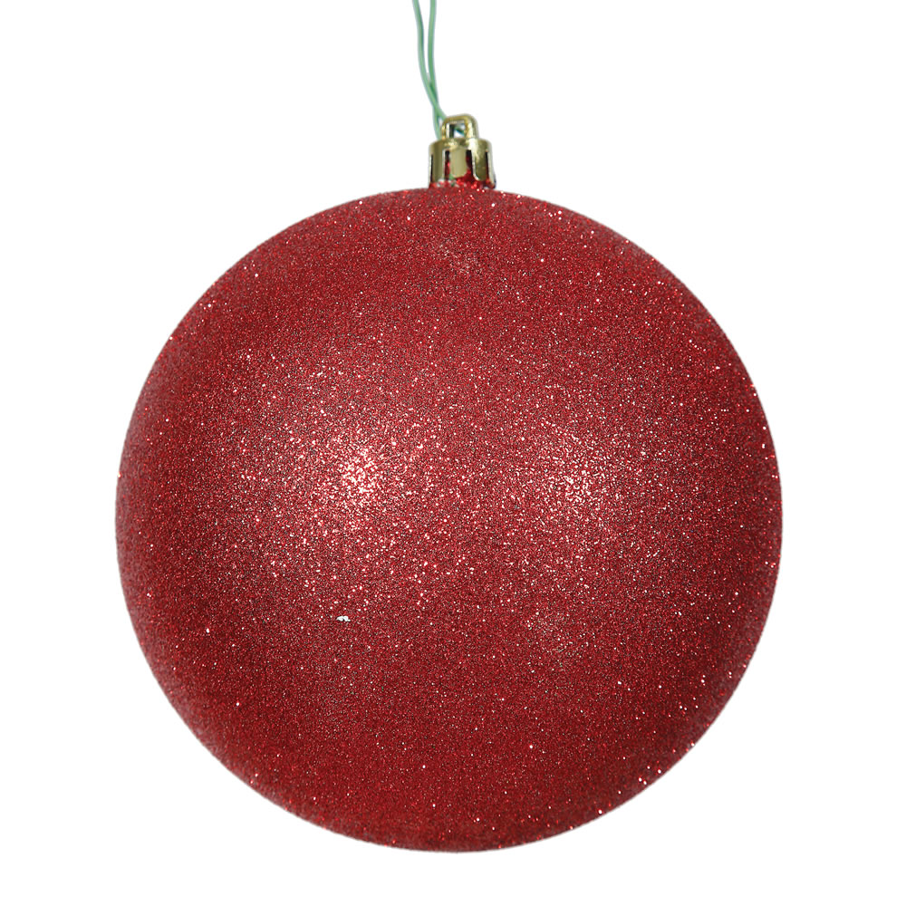 15.75 Inch Red Glitter Round Christmas Ball Ornament Shatterproof UV