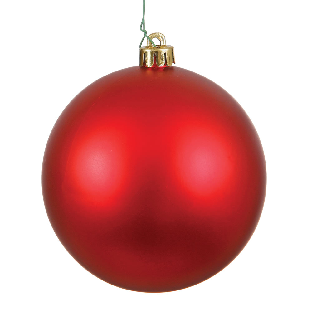 15.75 Inch Red Matte Round Christmas Ball Ornament Shatterproof UV