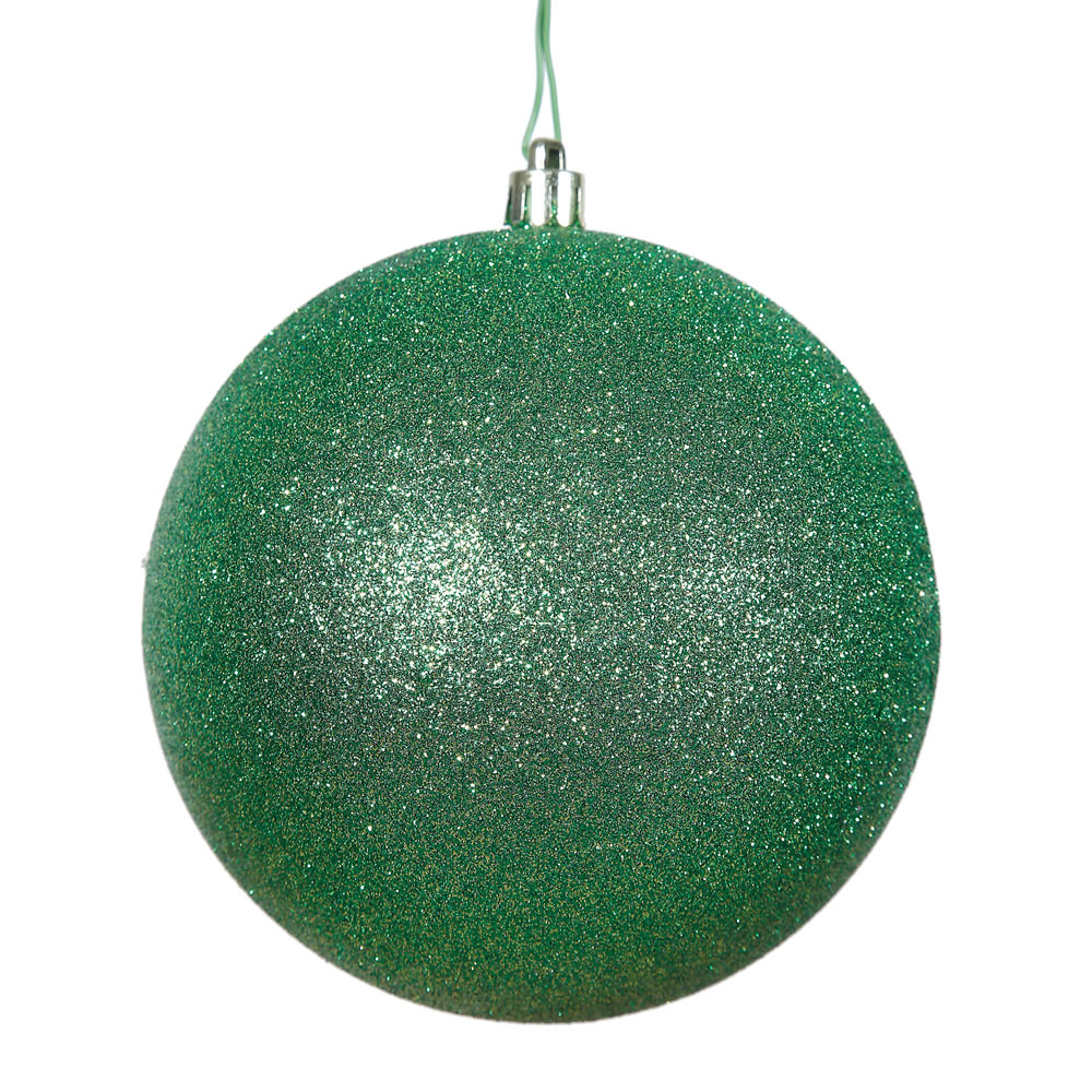 15.75 Inch Green Glitter Round Christmas Ball Ornament Shatterproof UV