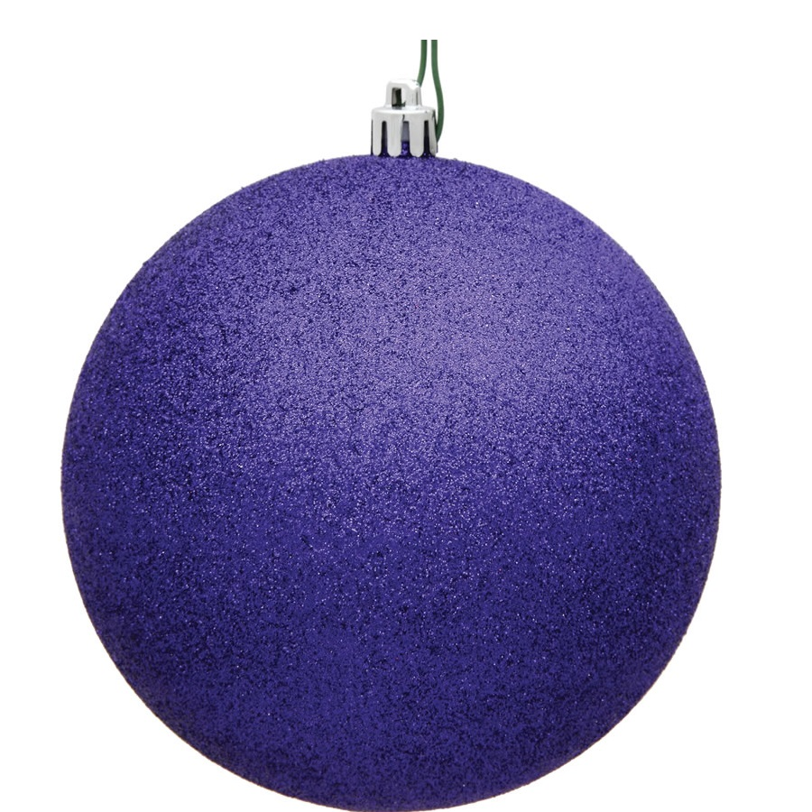 15.75 Inch Purple Violet Glitter Round Christmas Ball Ornament Shatterproof UV