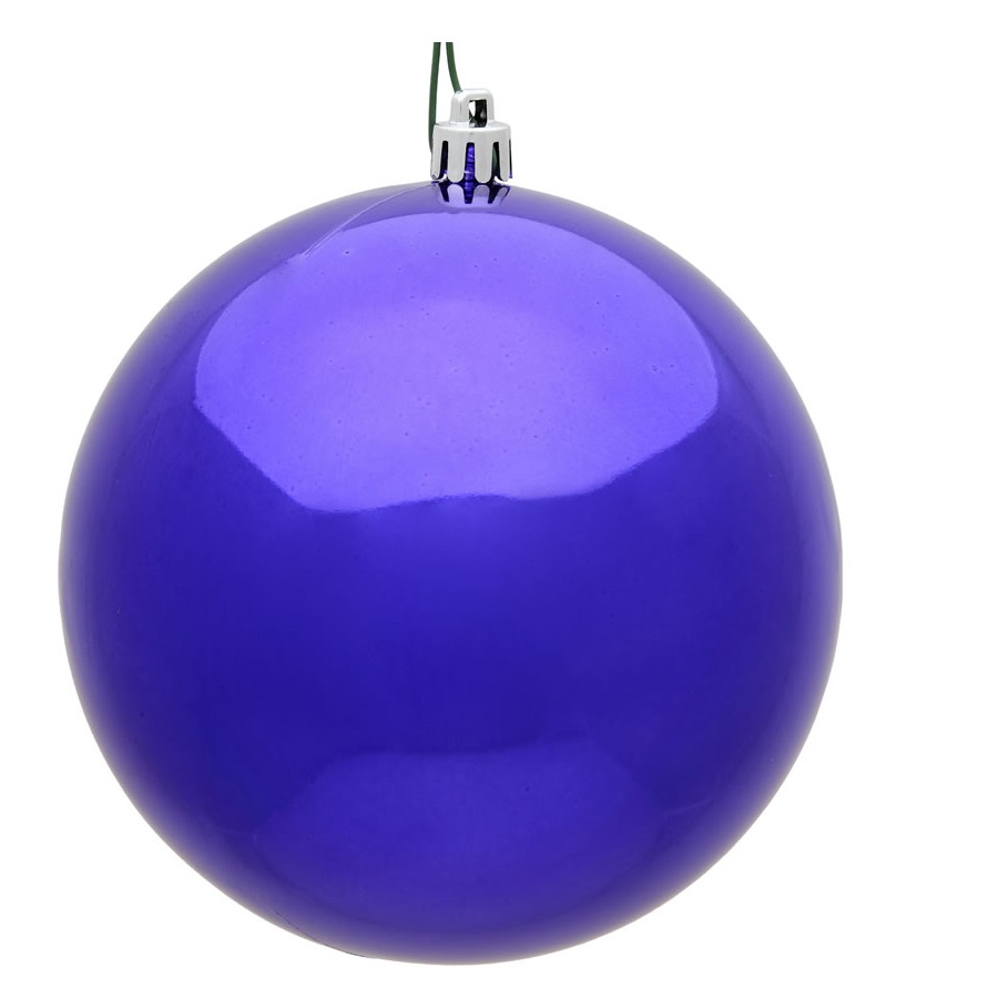 15.75 Inch Purple Violet Shiny Round Christmas Ball Ornament Shatterproof UV