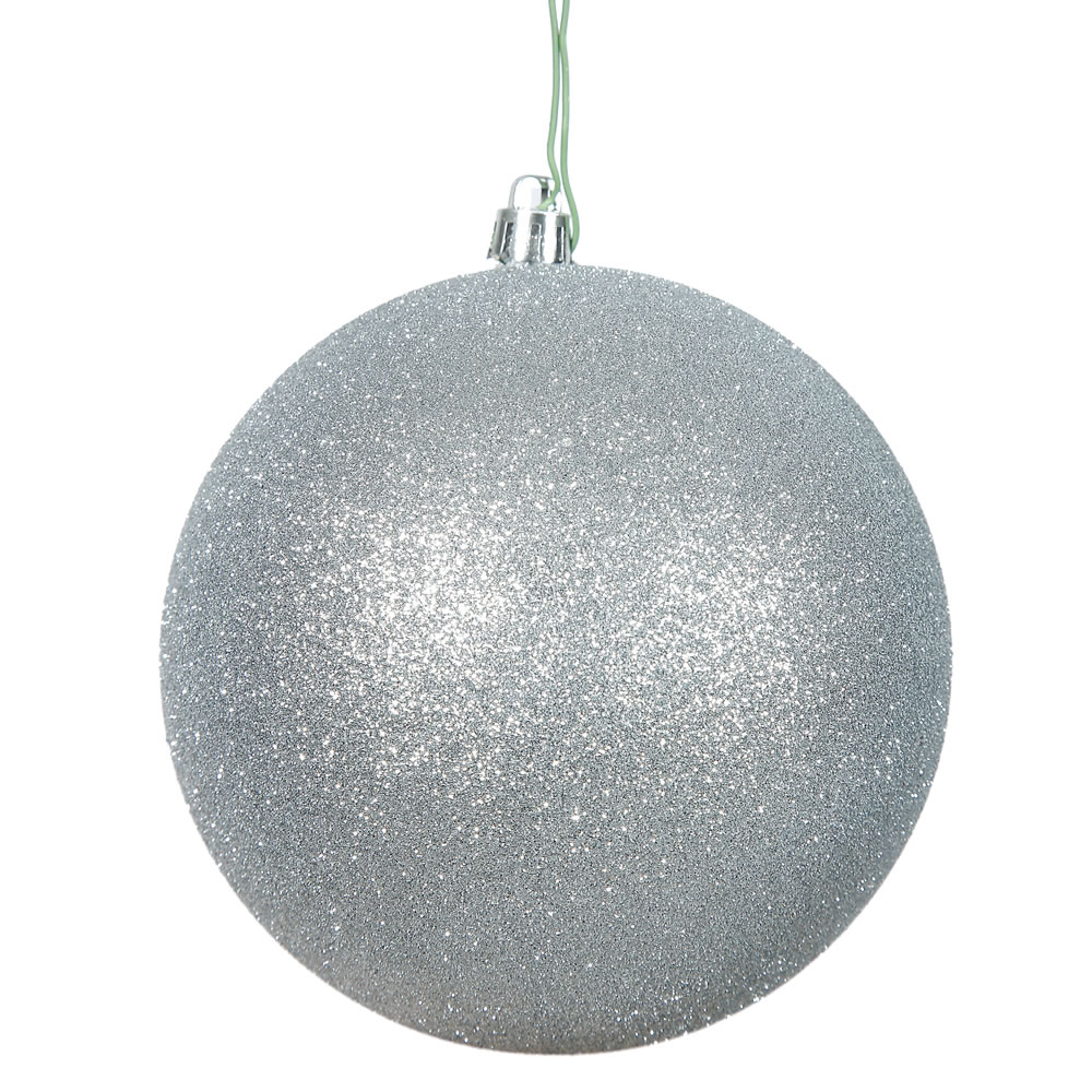 15.75 Inch Silver Glitter Round Christmas Ball Ornament Shatterproof UV
