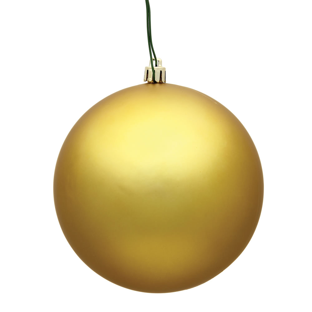 15.75 Inch Golden Matte Round Christmas Ball Ornament Shatterproof UV