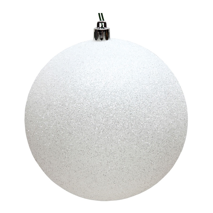 15.75 Inch Snow White Glitter Round Christmas Ball Ornament Shatterproof UV