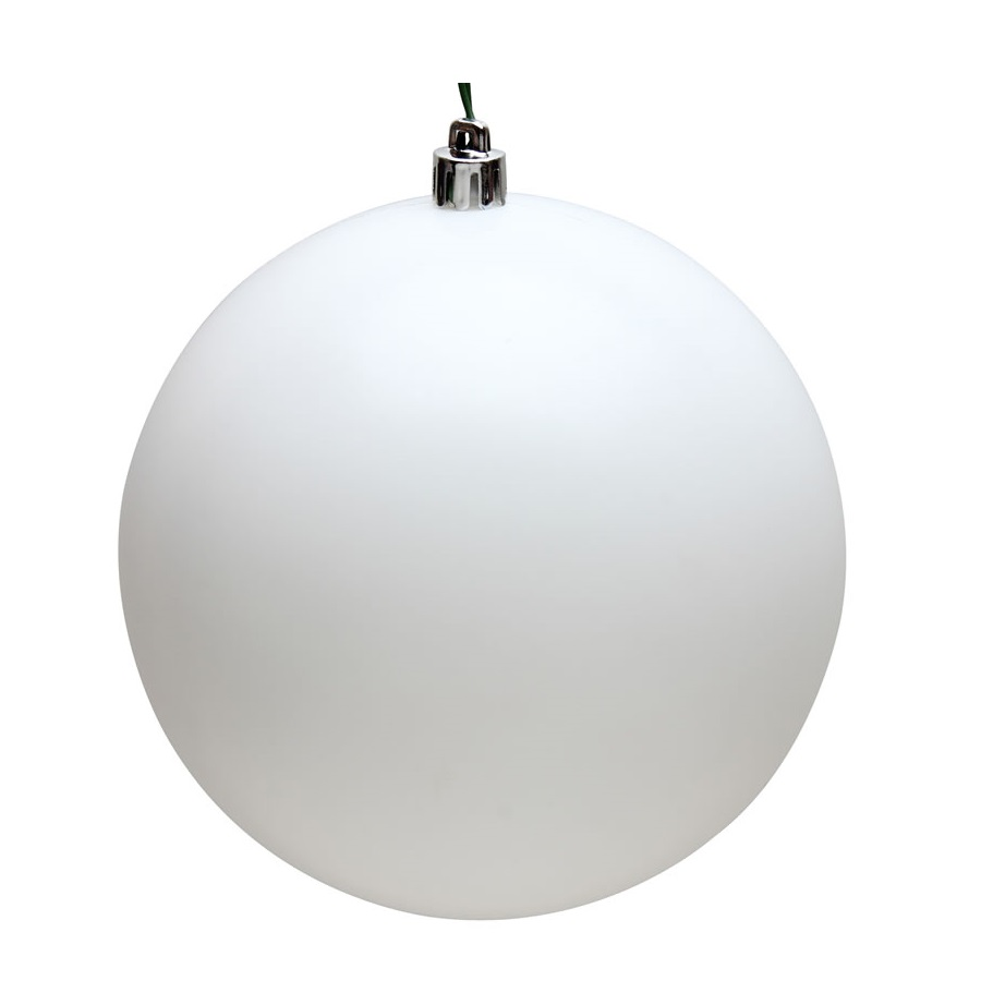15.75 Inch Snow White Matte Round Christmas Ball Ornament Shatterproof UV