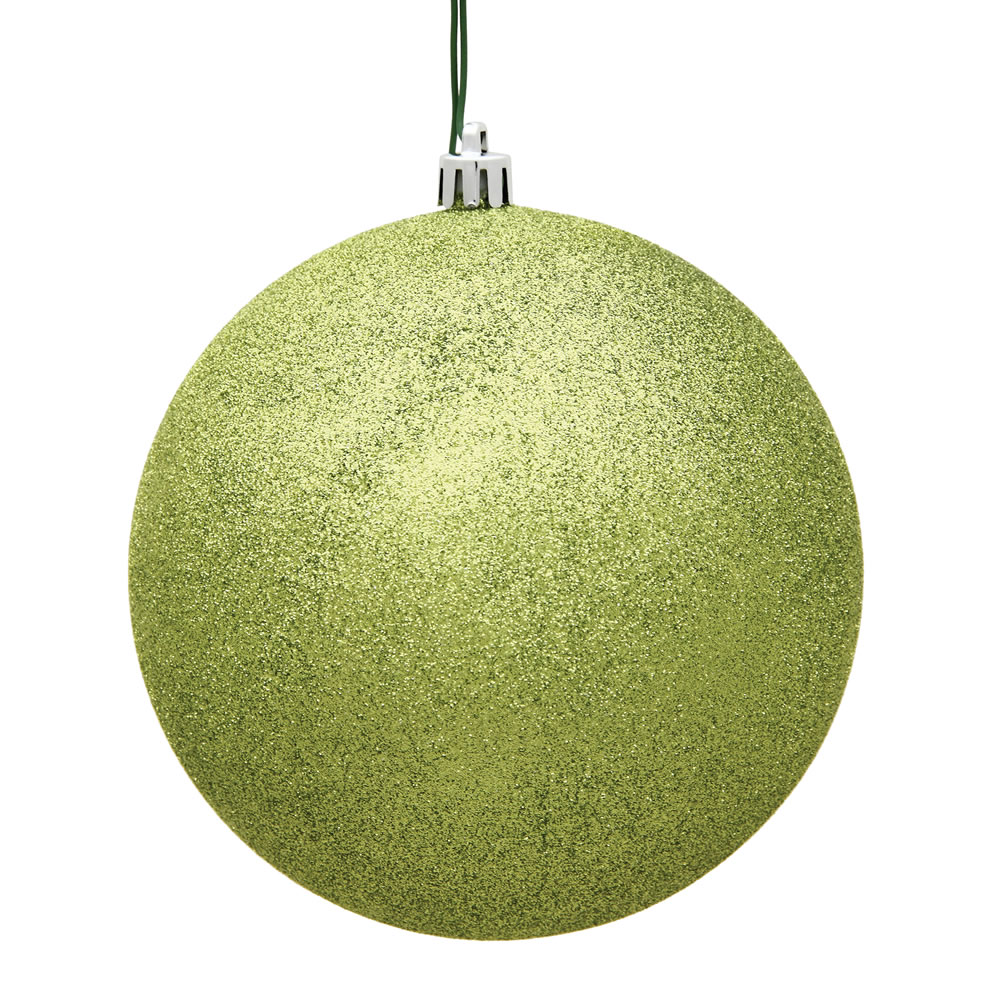 15.75 Inch Lime Green Glitter Round Christmas Ball Ornament Shatterproof UV