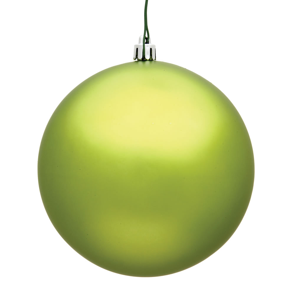 15.75 Inch Lime Green Matte Round Christmas Ball Ornament Shatterproof UV