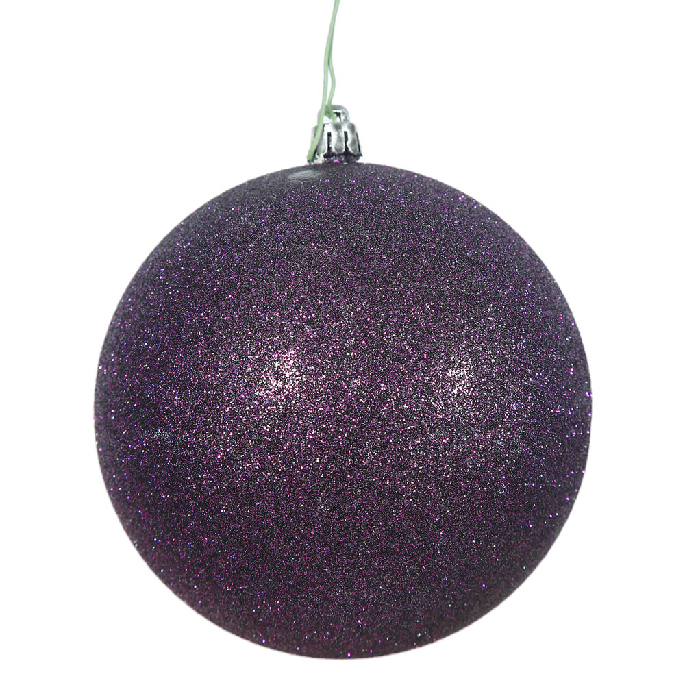 15.75 Inch Plum Glitter Round Christmas Ball Ornament Shatterproof UV