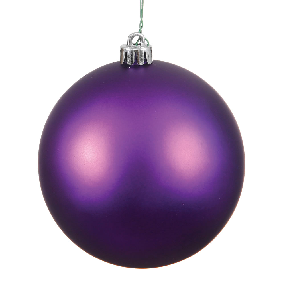 15.75 Inch Plum Matte Round Christmas Ball Ornament Shatterproof UV