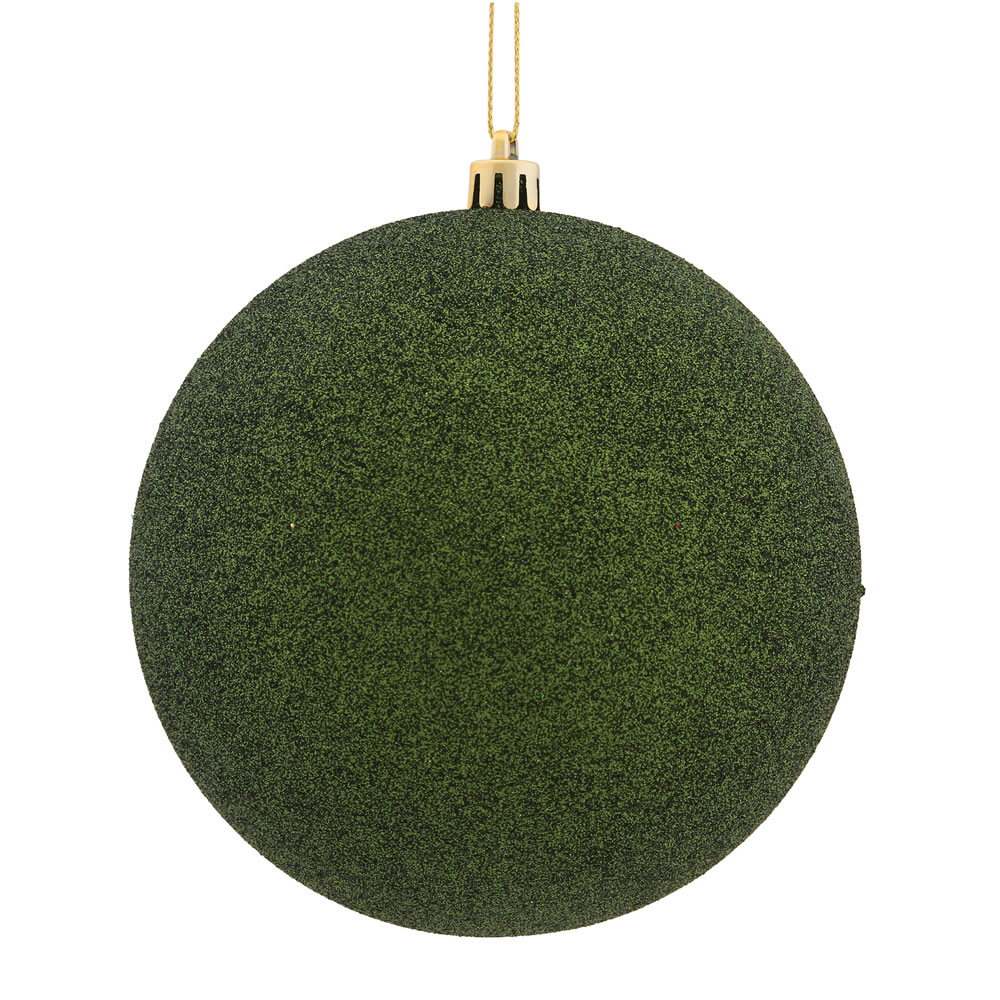 15.75 Inch Moss Green Glitter Round Christmas Ball Ornament Shatterproof UV
