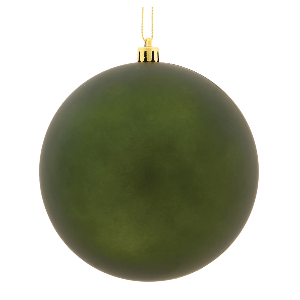 15.75 Inch Moss Green Matte Round Christmas Ball Ornament Shatterproof UV