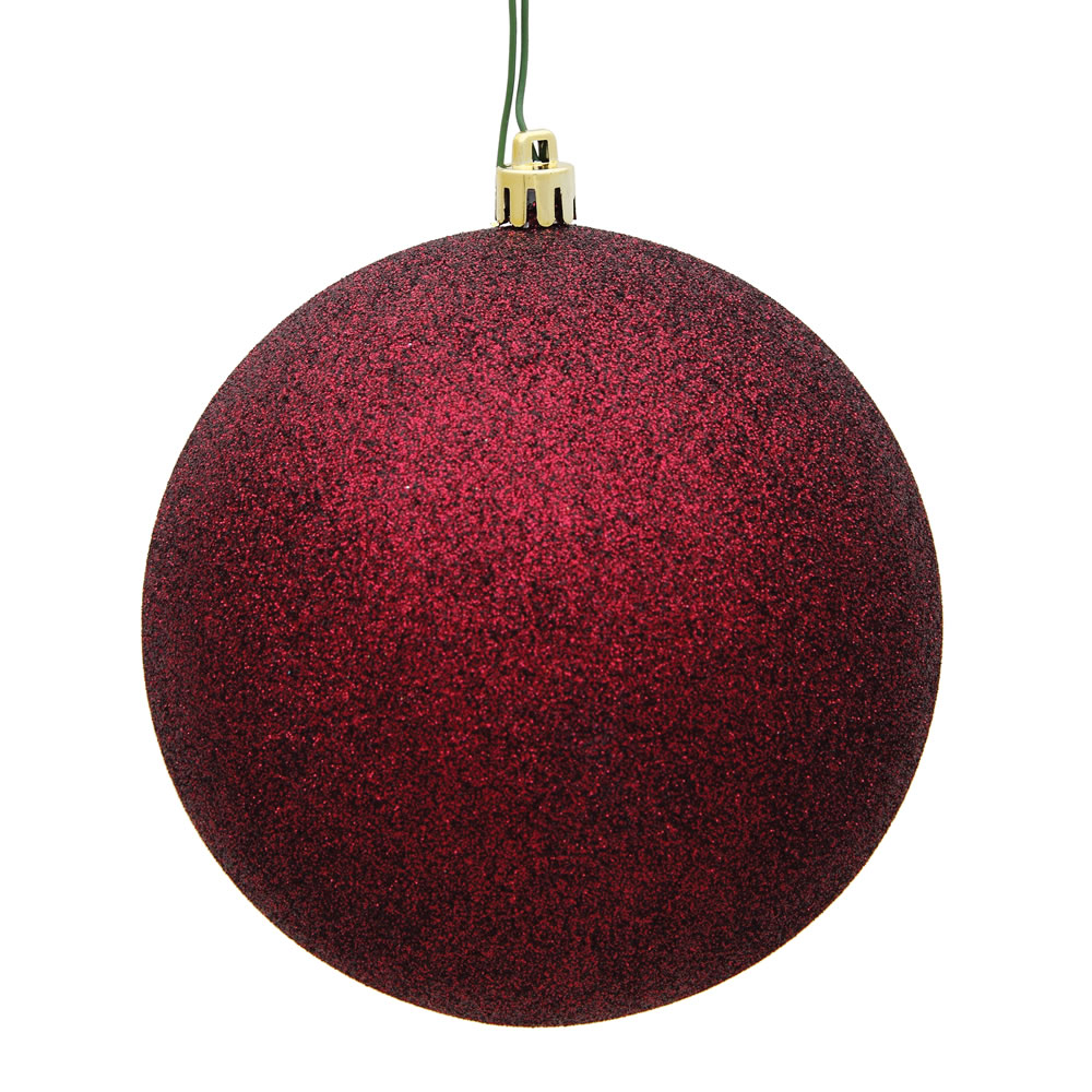 15.75 Inch Burgundy Glitter Round Christmas Ball Ornament Shatterproof UV