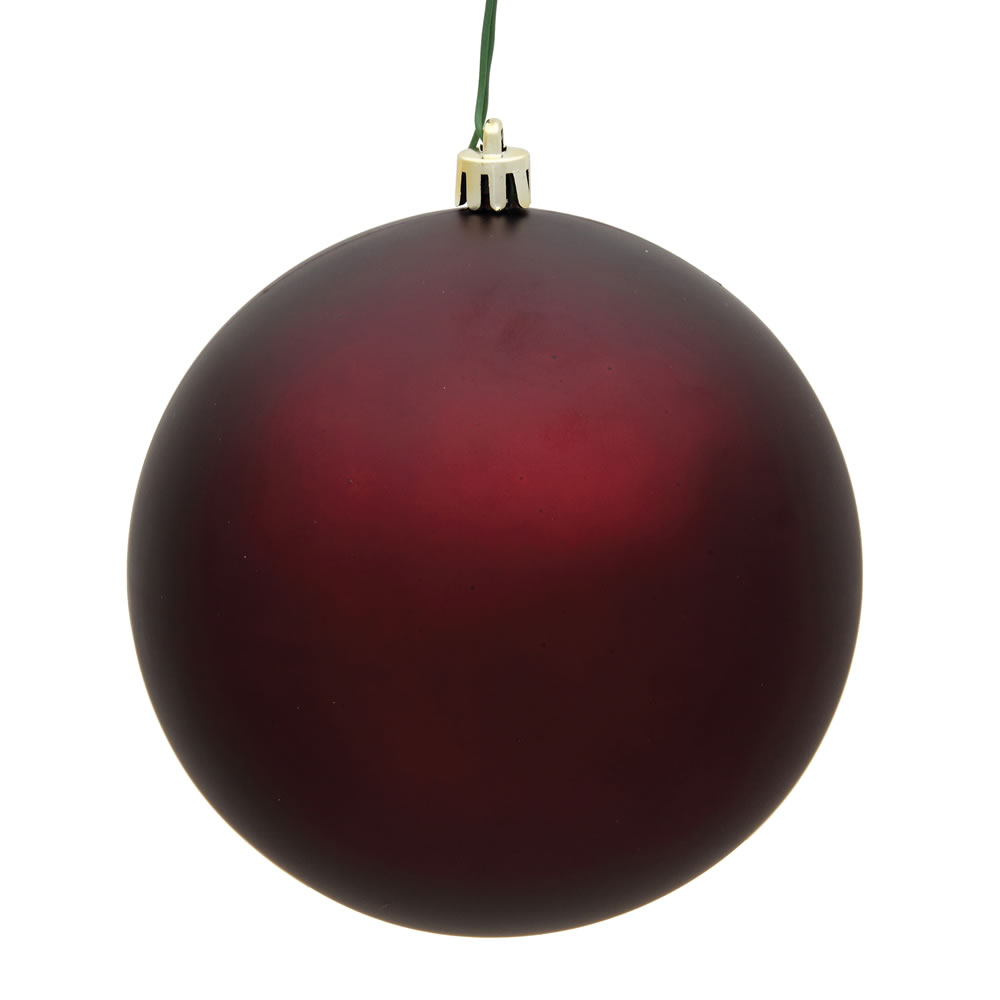 15.75 Inch Burgundy Matte Round Christmas Ball Ornament Shatterproof UV