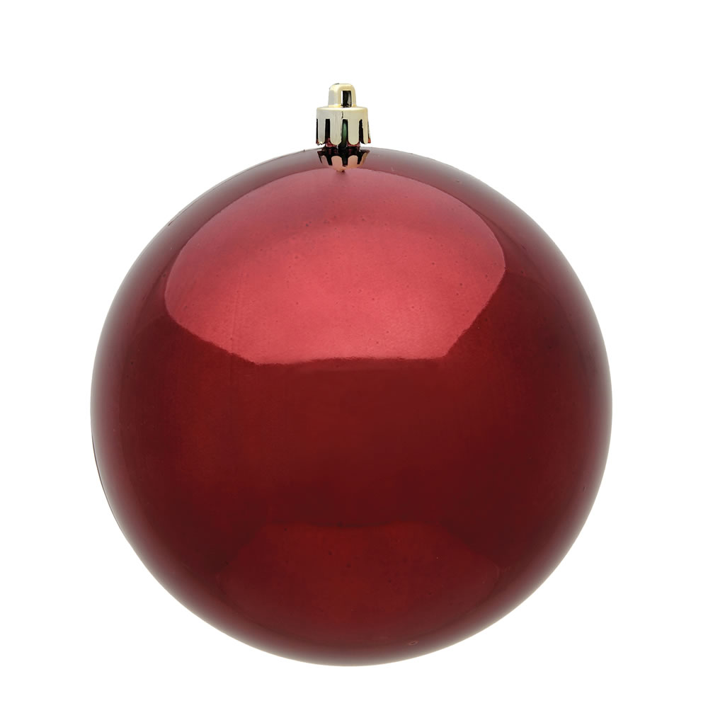 15.75 Inch Burgundy Shiny Round Christmas Ball Ornament Shatterproof UV