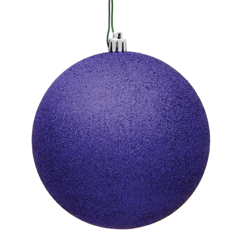 15.75 Inch Purple Glitter Round Christmas Ball Ornament Shatterproof UV