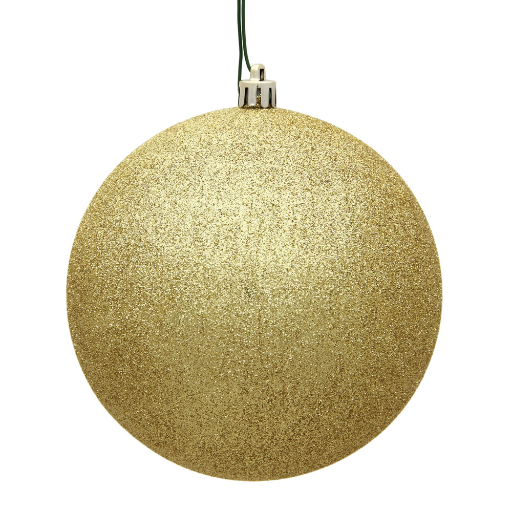 15.75 Inch Gold Glitter Round Christmas Ball Ornament Shatterproof UV