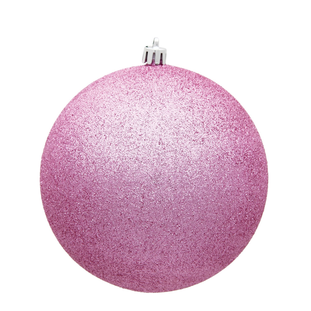 15.75 Inch Pink Glitter Round Christmas Ball Ornament Shatterproof UV