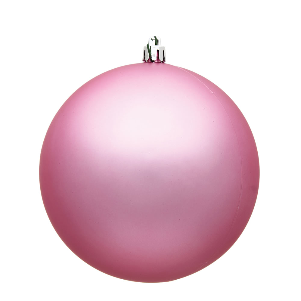 15.75 Inch Pink Matte Round Christmas Ball Ornament Shatterproof UV