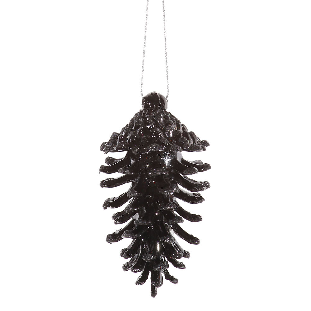3.5 Inch Black Pine Cone Christmas Ornament Set of 6