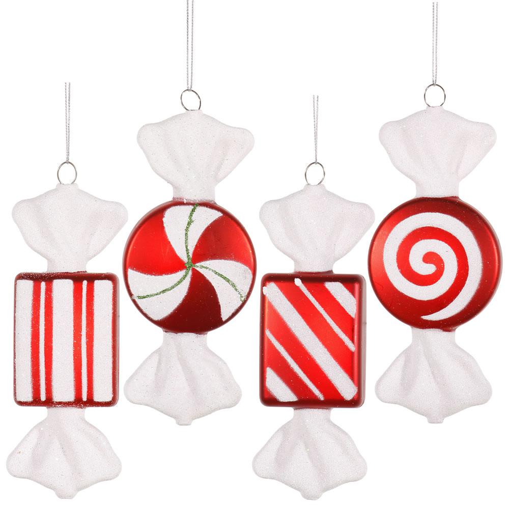 6 Inch Red White Peppermint Candy Christmas Ornament 4 Assorted