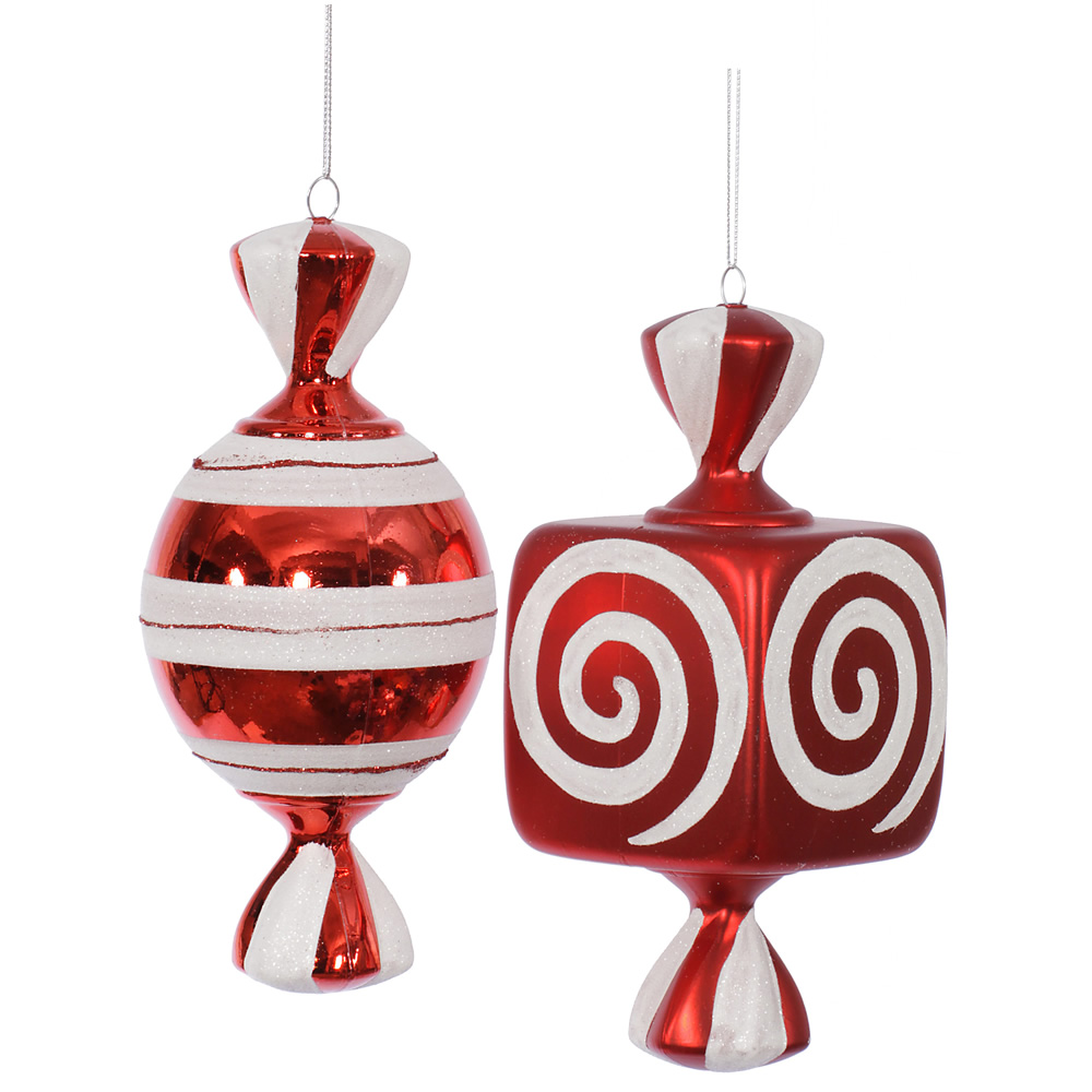 8 Inch Red Fat Candy Christmas Ornament 2 Assorted