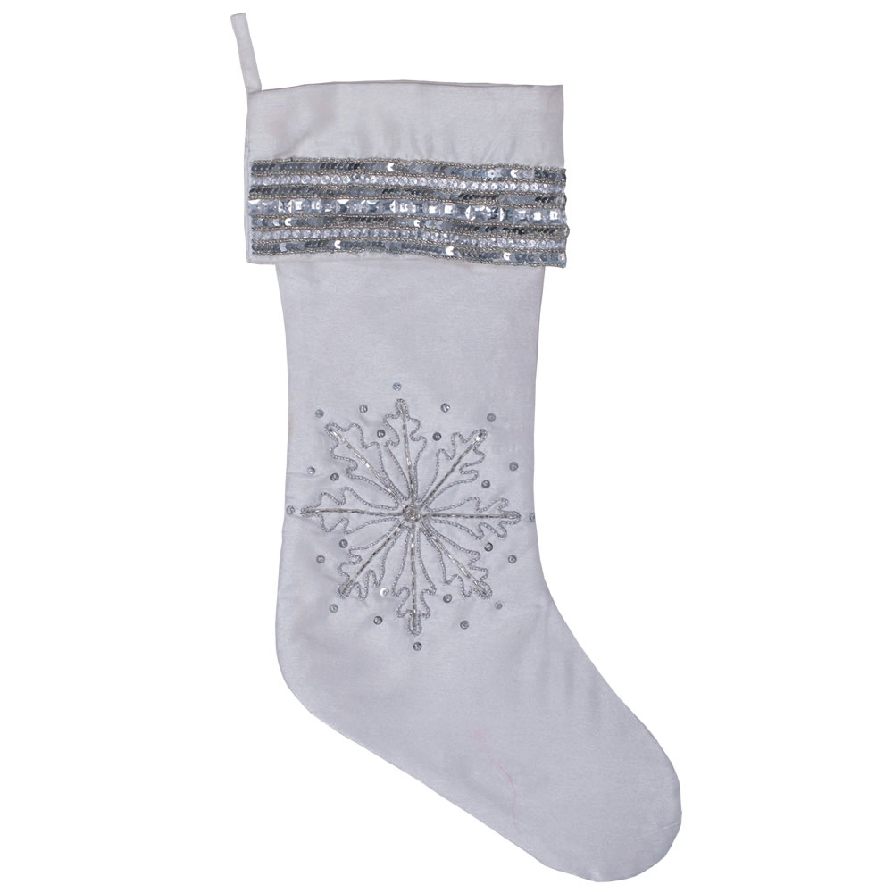 19 Inch Silver Sequin Snowflake Pure White Christmas Stocking