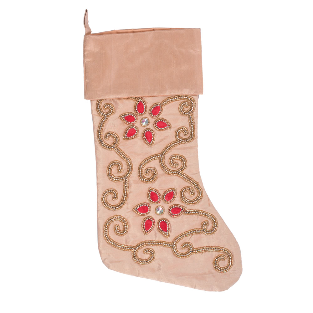 Champagne Polysilk Dupioni Wine Cotton Regal Decorative Christmas Stocking