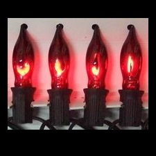 10 Incandescent C7 Red Flickering Flame Halloween Light Set - Black Wire