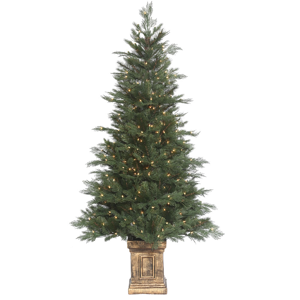 6 Foot Potted Cedar Mixed Pine Artificial Christmas Tree 300 DuraLit Incandescent Clear Mini Lights