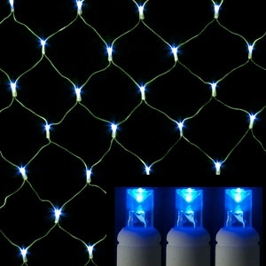 108 led 5mm polka dot wide angle blue net light set green wire - Christmas Lights Net